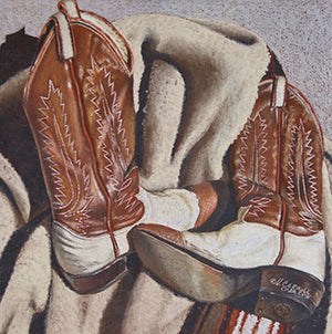 Boots and Blanket - Colored Pencil Artwork by Virginia Carroll
