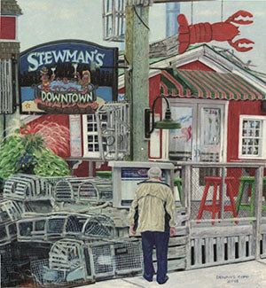 Checking Out Stewman's - Colored Pencil Artwork by Dennis Copp