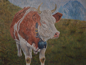 Swiss Cow - Colored Pencil Artwork by Deborah Collett