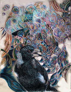 Song of the Magpie No. 1 - Colored Pencil Artwork by Helen Duley