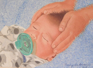 Sister's Loving Touch - Colored Pencil Artwork by Marilyn Van Brocklin