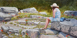 Among Etruscan Poppies - Colored Pencil Artwork by John Ursillo