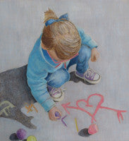 Chalk Play - Colored Pencil Artwork by Carolyn Langley
