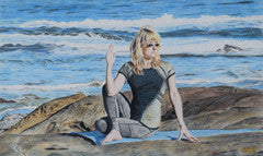 Yoga in Yachats - Colored Pencil Artwork by Jeffrey Marks