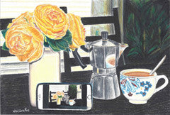 Coffee Click - Colored Pencil Artwork by Neelima Roy Patibandla