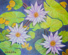 Three Waterlilies - Colored Pencil Artwork by Ruth J Kary