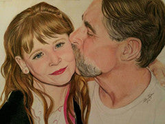 Annaleigh and Daddy - Colored Pencil Artwork by Stephanie Price-Taylor
