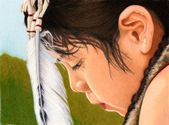 Ponca Boy - Colored Pencil Artwork by Theresa Rhodus