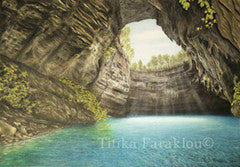 The Cave of the Nymphs - Colored Pencil Artwork by Titika Faraklou