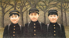 Three Boys - Colored pencil art by Ann Kullberg