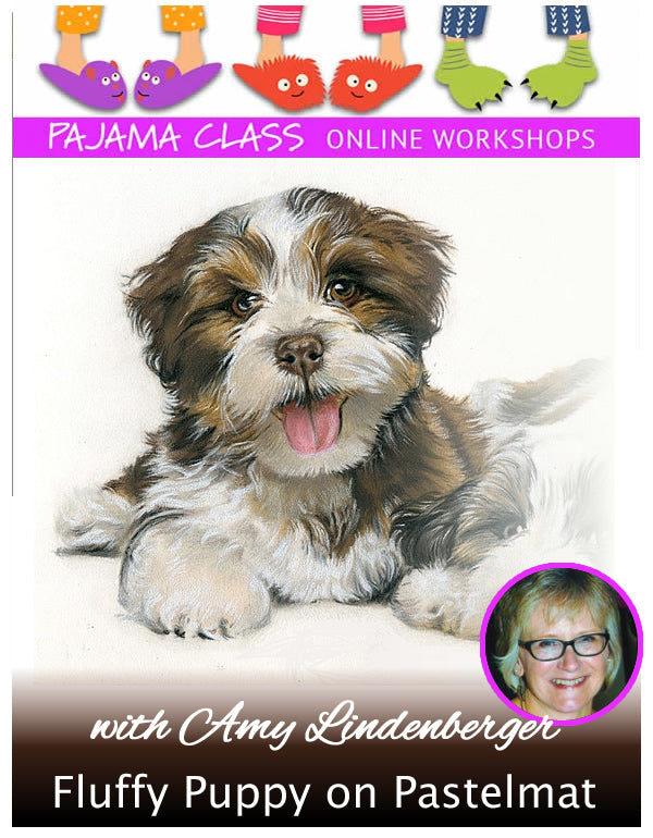 Fluffy Puppy on Pastelmat - Pajama Class with Amy Lindenberger