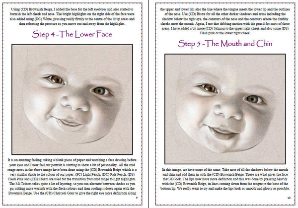 Baby Portrait in Sepia Colored Pencil Project Kit - Instant Digital Download-Colored Pencil Project Kits-Ann Kullberg