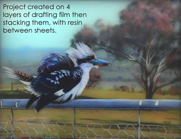 Kookaburra: 3D Colored Pencil Project Kit - Instant Download-Colored Pencil Project Kits-Ann Kullberg