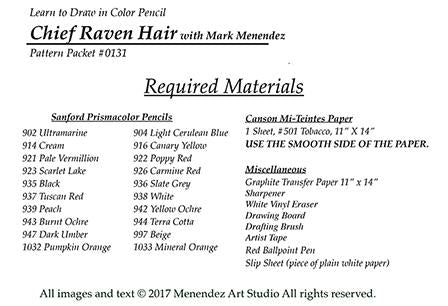 Mark Menendez: Chief Raven Hair Colored Pencil Tutorial Digital Download