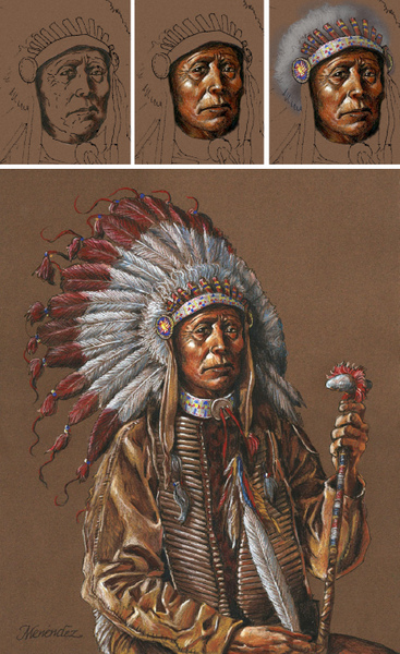 Mark Menendez: Chief Raven Hair Colored Pencil Tutorial-Colored Pencil Project Kits-Ann Kullberg