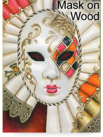 Mask on Wood Colored Pencil Project Kit - Instant Digital Download-Colored Pencil Project Kits-Ann Kullberg