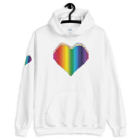 Colored Pencil Heart Hooded Sweatshirt