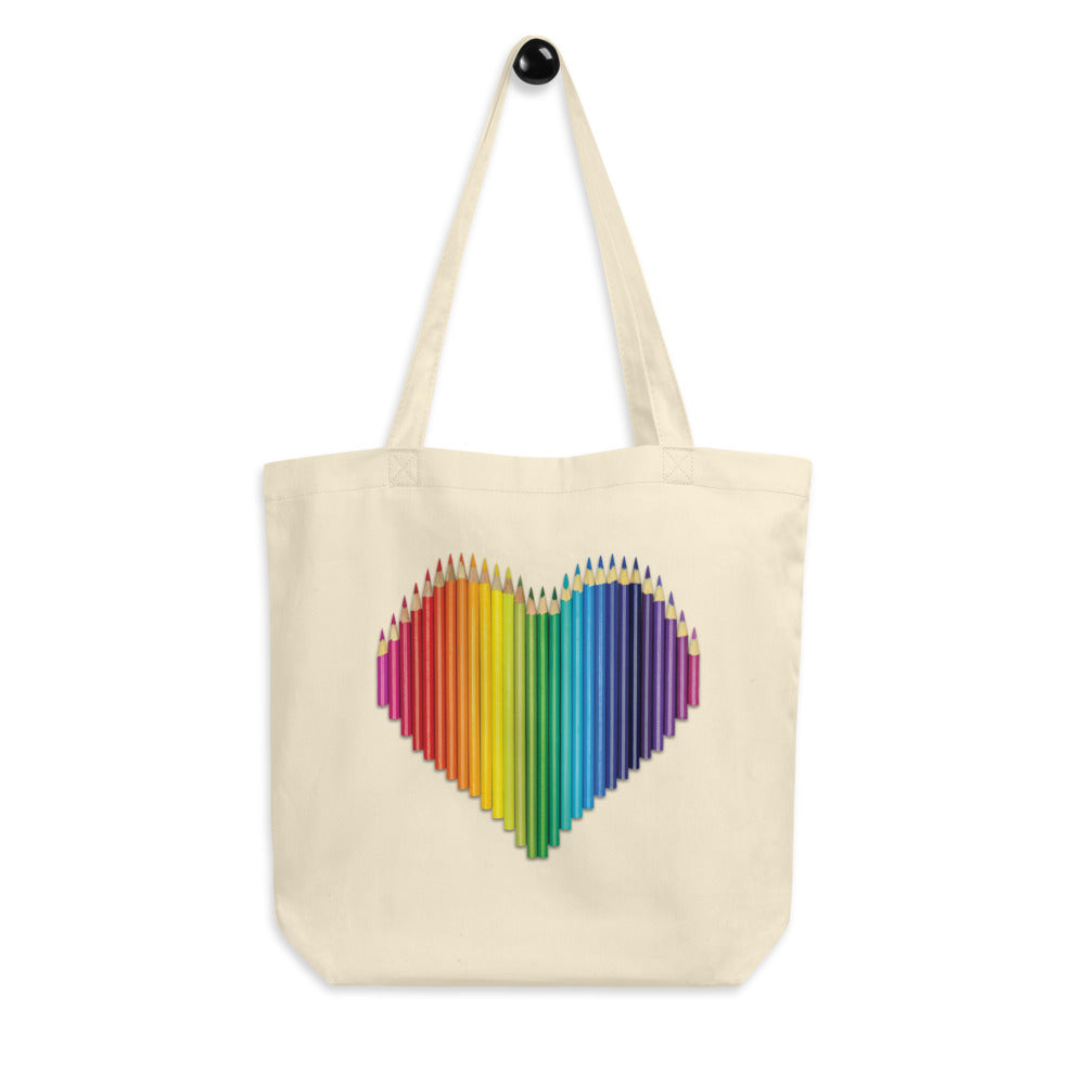 Colored Pencil Heart Tote Bag