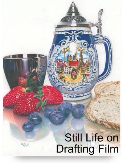 Still Life on Drafting Film Colored Pencil Project Kit - Instant Digital Download-Colored Pencil Project Kits-Ann Kullberg