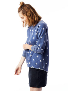 Star Printed Burnout French Terry Pullover Sweatshirt