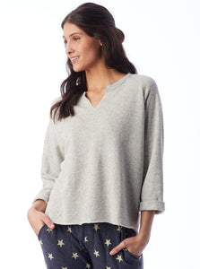 Oatmeal Gray Sweatshirt with open neck Uni-T