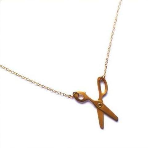 Scissor Necklace, Brass Moveable Scissors on Gold Filled Chain, Minimalist Necklace Uni-T