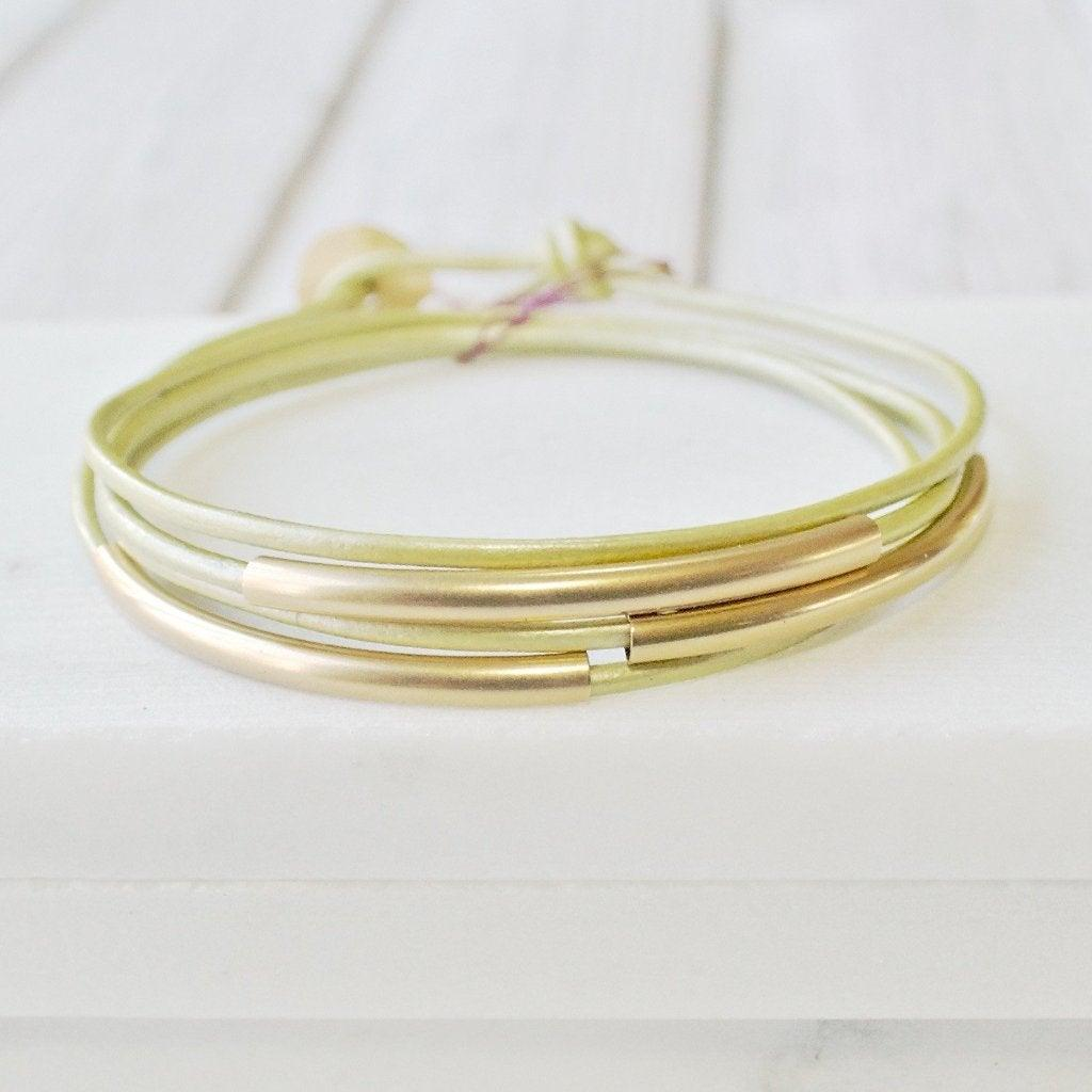 Sage Green Leather Silver/Gold Wrap Bracelet - One Size fits all Uni-T