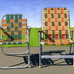 Summer Chairs (orange) - limited edition giclee print 76/100 - As seen in WEST ELM catalog Uni-T