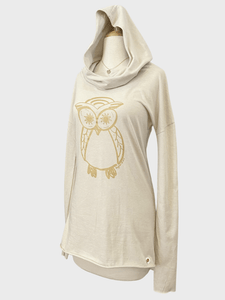 Owl Organic Cotton Cowl Neck Yoga Hoodie, Made in USA