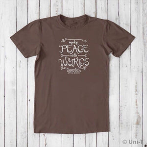 Make Peace With Words: Soft Straight-Cut T-shirt (Choose Color) Uni-T