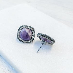 Agate with Pave Swarovski Crystals Stud Earrings Uni-T