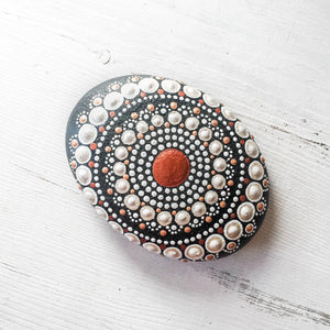 Large Hand Painted Mandala Stone - Copper, White, Black Uni-T