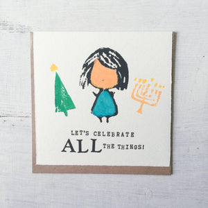 Let's Celebrate All The Things! - Letter Press Card Uni-T