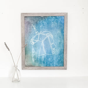 Original Framed Unicorn Painting 11 X 14 Uni-T