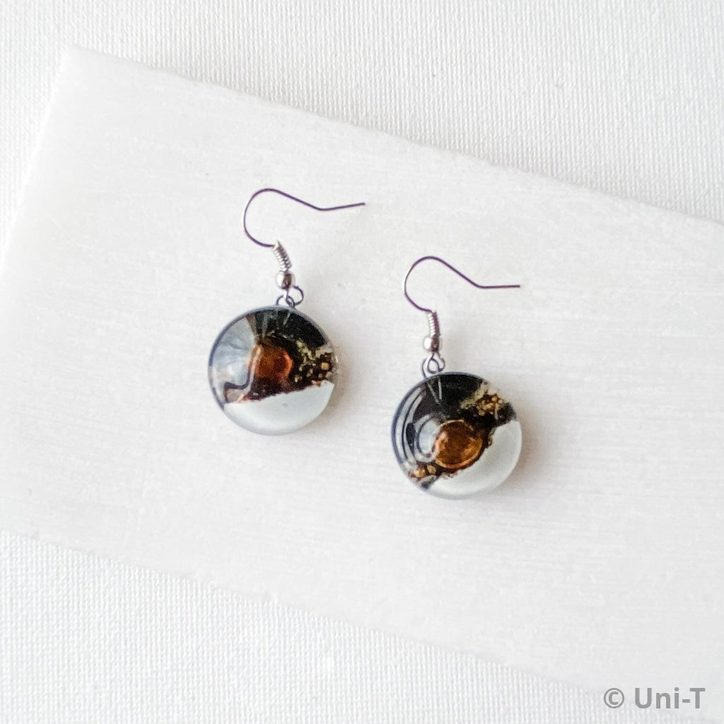 Recycled Fused Glass Earrings - Circle Uni-T