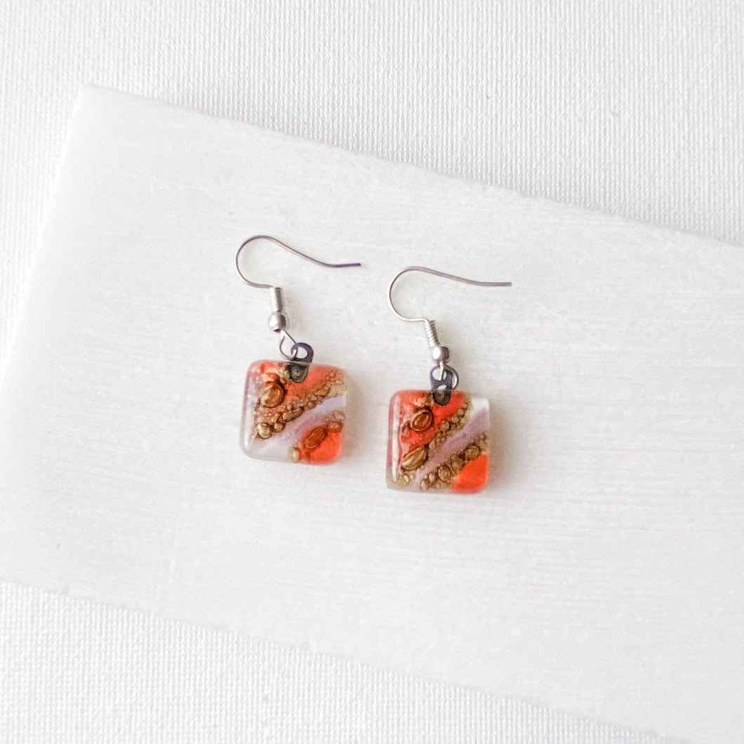 Recycled Fused Glass Earrings - Square Uni-T