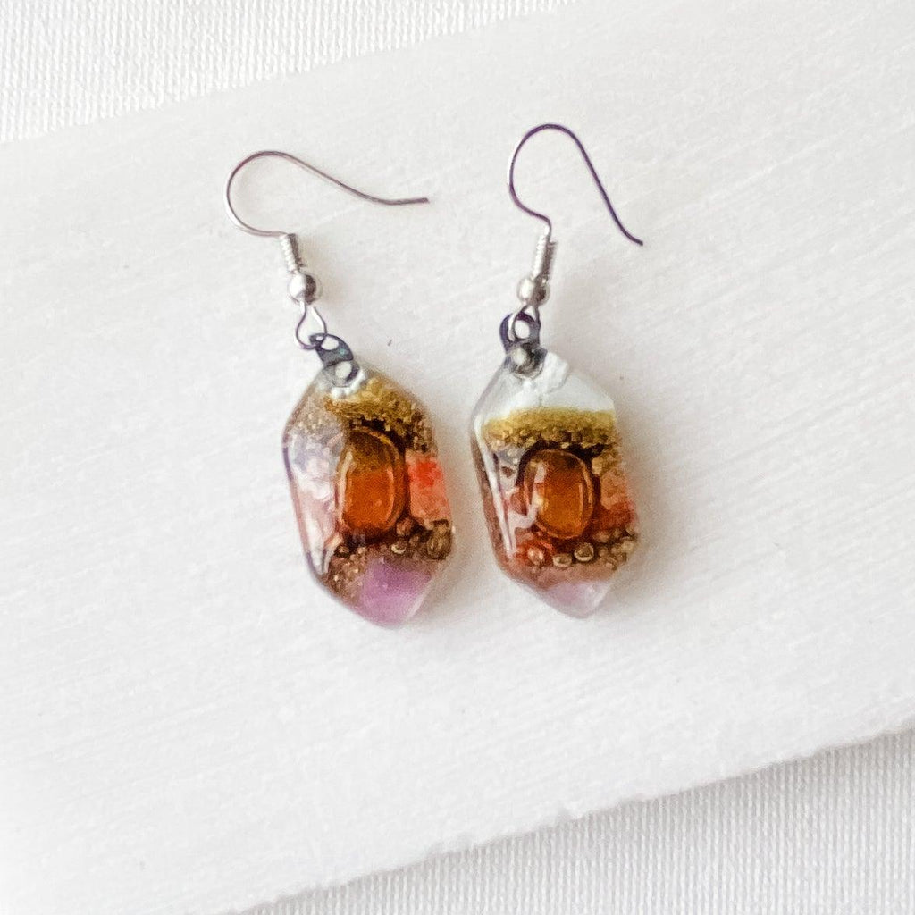Recycled Fused Glass Earrings - Hexagons Uni-T