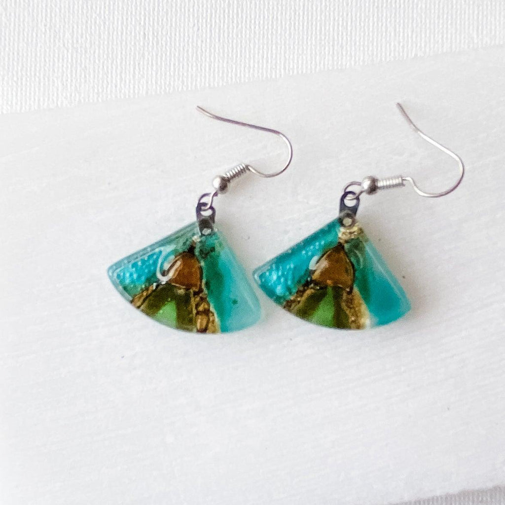 Recycled Fused Glass Earrings - Fan Shape Uni-T