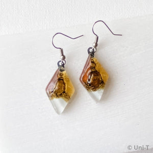 Recycled Fused Glass Earrings - Diamonds Uni-T