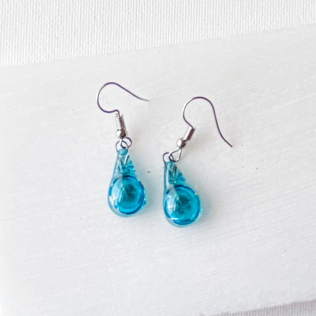 Recycled Fused Glass Earrings - Teardrop Uni-T