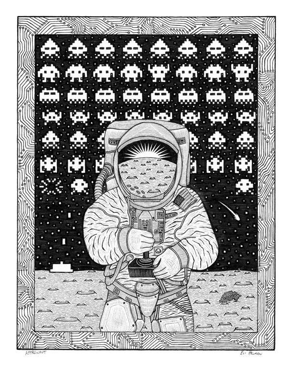 Astronaut | Flightless in Flight | Hummingbird | Thylacine | 8X10 Pen & Ink Art Prints Uni-T