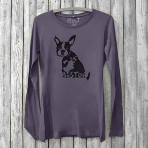 Boston Terrier Long Sleeve T-shirt for Women Uni-T