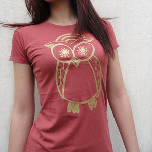 Owl T shirt | Women's Bamboo Organic Cotton T-shirt | Cute Tee Shirt