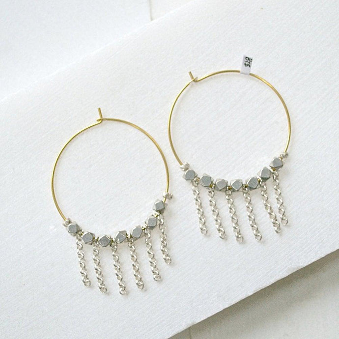 Pyrite Hoop with Dangle Chains Earrings Uni-T
