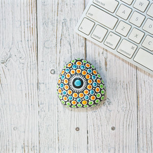 Hand Painted Mandala Stone - Orange, Blue, Green Uni-T