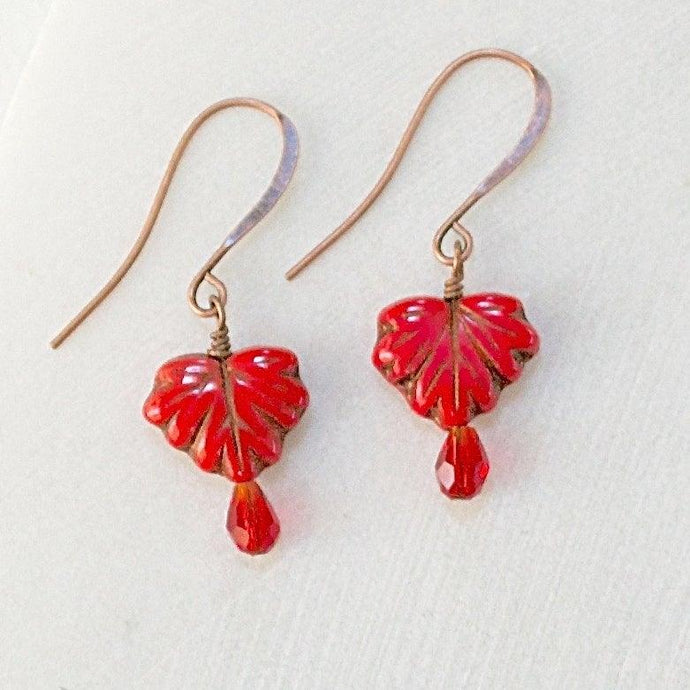 Czech Glass Leaves Earrings Uni-T