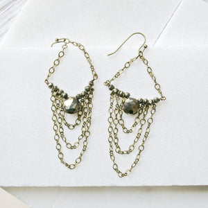 Bronze Slouch Earrings, Labradorite or Pyrite Earrings Uni-T