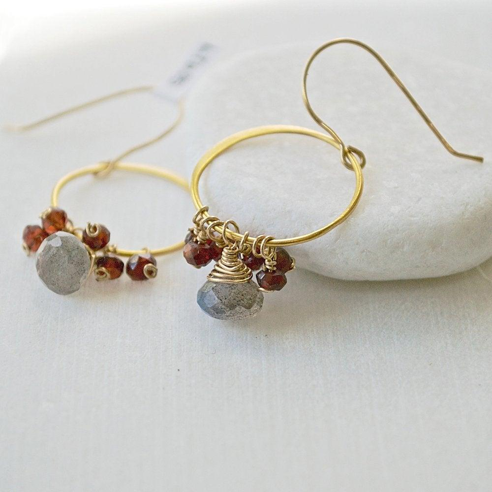 Garnet And Labradorite With Vermeil Hoop & Earring Hooks Uni-T