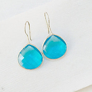 Gem Drop Earrings, Polished Quartz Earrings Uni-T