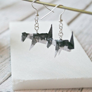Origami Dog Earrings - Black & White Uni-T